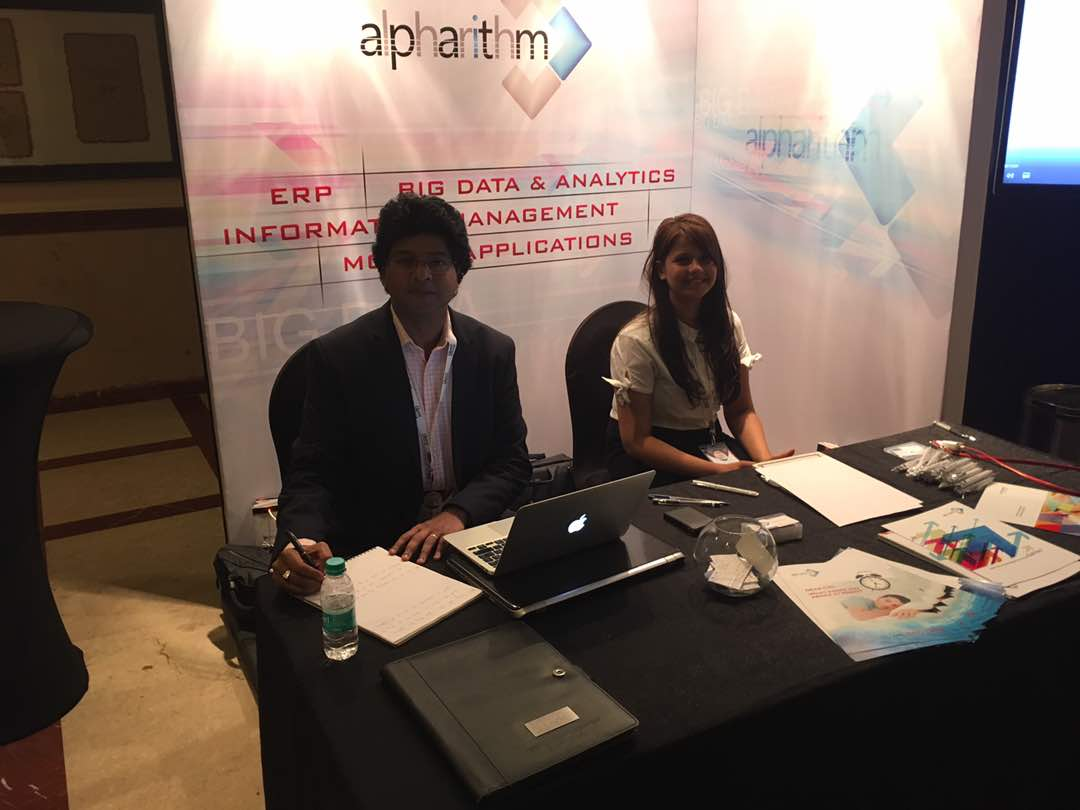 Alpharithm team at the stall at the Insurance summit 2017