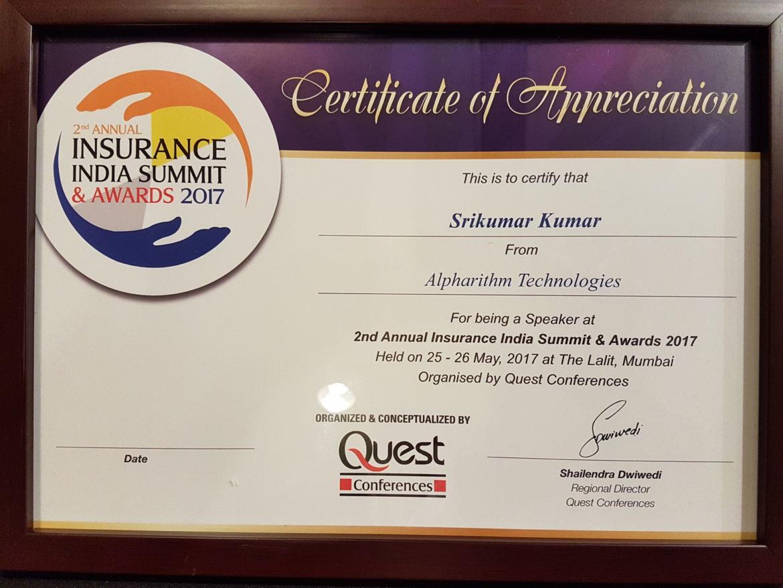 Sri Insurance Speaker Certificate